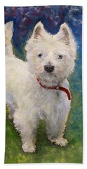 Beach Towel featuring the painting West Highland Terrier Holly by Richard James Digance