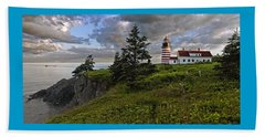 West Quoddy Head Lighthouse Panorama Beach Towel
