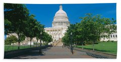 West View Of Us Capitol Building Beach Sheet by Panoramic Images