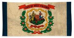 West Virginia State Flag Art On Worn Canvas Beach Towel