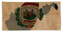 West Virginia State Flag Map Outline With Founding Date On Worn Parchment Background Beach Towel