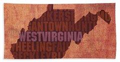 West Virginia State Word Art On Canvas Beach Towel