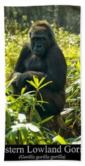 Western Lowland Gorilla Sitting On A Tree Stump Beach Towel