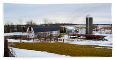 Western New York Farm As An Oil Painting Beach Towel