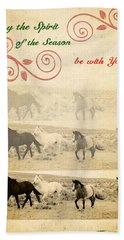 Western Themed Christmas Card Wyoming Spirit Beach Sheet