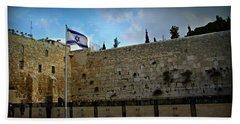 Western Wall And Israeli Flag Beach Sheet by Stephen Stookey