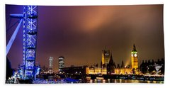 Westminster And Eye Night Glow Beach Towel by Matt Malloy