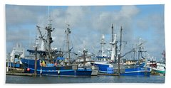 Westport Fishing Boats Beach Towel by Chalet Roome-Rigdon