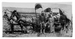 Westward Family In Covered Wagon C. 1886 Beach Towel