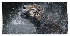 Beach Sheet featuring the pyrography Wet Jaguar  by Shoal Hollingsworth