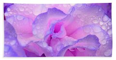 Wet Rose In Pink And Violet Beach Sheet by Nareeta Martin