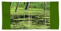 Beach Towel featuring the photograph Wetland Reflection by Ann Horn