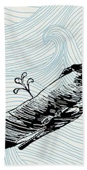 Whale On Wave Paper Beach Towel