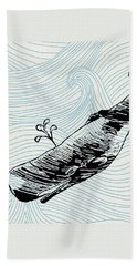 Whale On Wave Paper Beach Sheet