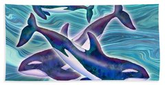 Beach Sheet featuring the mixed media Whale Whimsey by Teresa Ascone