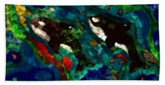 Whales At Sea - Orcas - Abstract Ink Painting Beach Sheet
