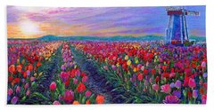 Tulip Fields, What Dreams May Come Beach Towel by Jane Small
