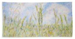 Wheat Field And Wildflowers Beach Towel
