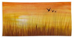 Beach Sheet featuring the painting Wheatfield At Sunset by Darren Robinson