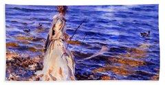 When A Woman Goes Fishing Beach Sheet