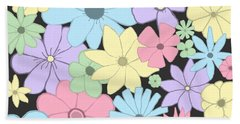 Whimsical Pastel Flowers Beach Towel