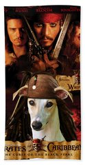 Whippet Art - Pirates Of The Caribbean The Curse Of The Black Pearl Movie Poster Beach Towel