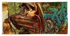 Whistler Box Car Graffiti Beach Towel