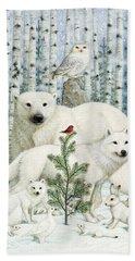 White Animals Red Bird Beach Towel