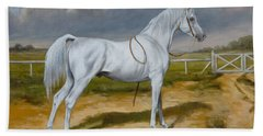 White Arabian Stallion Beach Towel