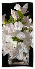 White Azalea Bouquet In Glass Vase Beach Sheet by Connie Fox