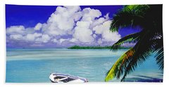 White Boat On A Tropical Island Beach Towel
