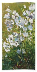 White Campanulas Beach Towel