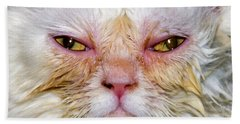 Scary White Cat Beach Towel