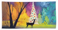 White Christmas Tree Beach Sheet by Munir Alawi