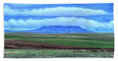 Beach Sheet featuring the photograph White Clouds Blue Mesa II by Lanita Williams
