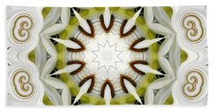 White Daisies Kaleidoscope Beach Sheet by Rose Santuci-Sofranko