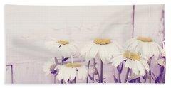White Daisy Mums Beach Towel