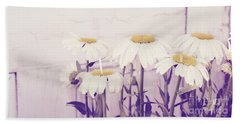 White Daisy Mums Beach Towel