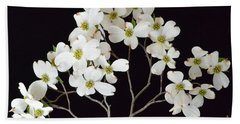 Beach Towel featuring the photograph White Dogwood Branch by Jeannie Rhode