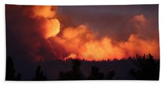 Beach Towel featuring the photograph White Draw Fire First Night by Bill Gabbert