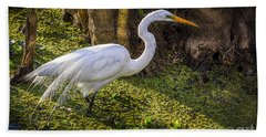 White Egret On The Hunt Beach Towel