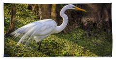 White Egret On The Hunt Beach Towel
