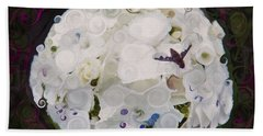 White Flower And Friendly Bee Mixed Media Painting Beach Towel