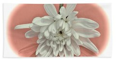 White Flower On Pale Coral Vignette Beach Sheet