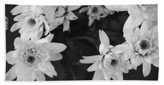 White Flowers- Black And White Photography Beach Towel
