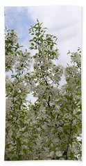 White Flowers On Branches Beach Sheet