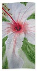 White Hibiscus Flower Beach Towel
