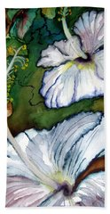 Beach Towel featuring the painting White Hibiscus by Lil Taylor