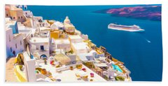 White Houses Of Santorini Beach Sheet