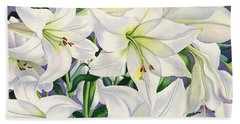 White Lilies Beach Sheet by Christopher Ryland